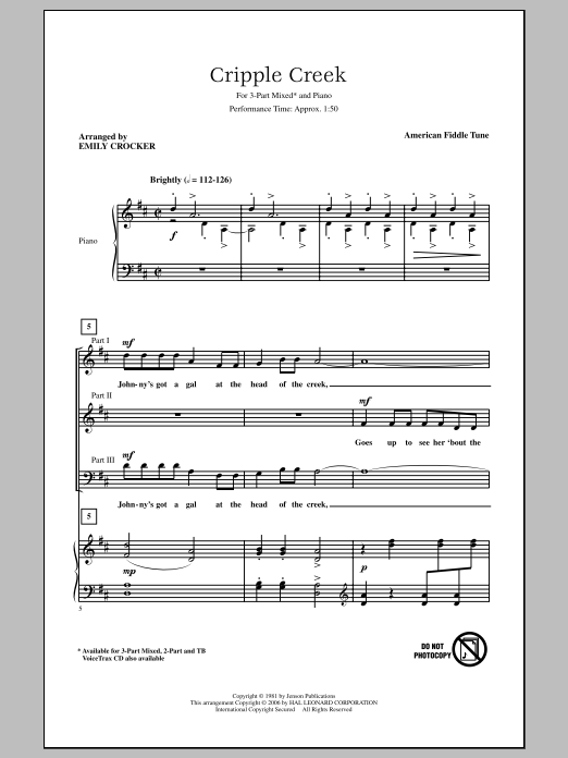 American Fiddle Tune Cripple Creek (arr. Emily Crocker) sheet music notes and chords. Download Printable PDF.