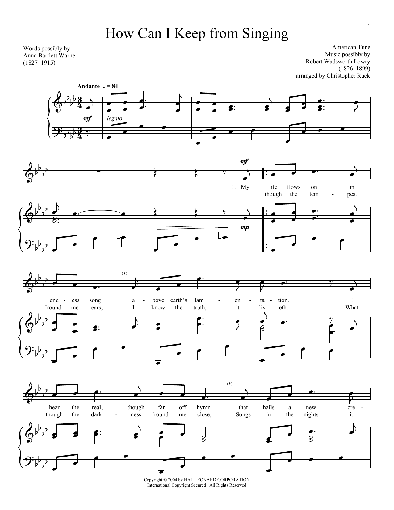 Traditional American Folksong How Can I Keep From Singing sheet music notes and chords. Download Printable PDF.