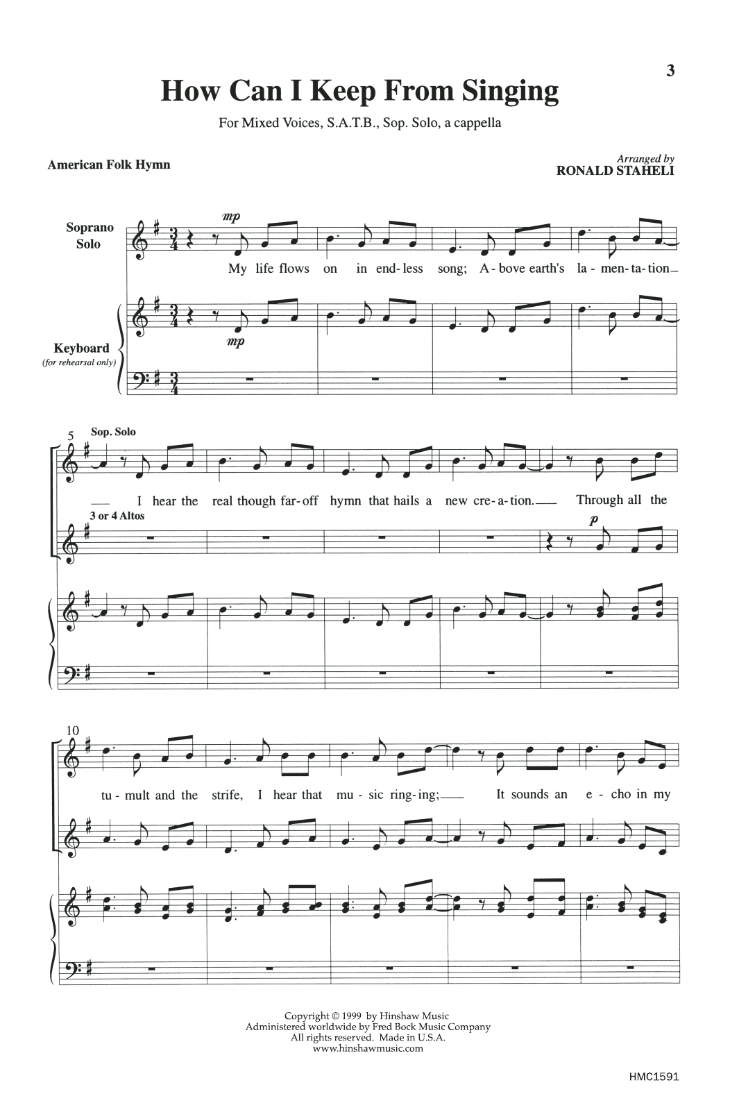 American Folk Hymn How Can I Keep From Singing (arr. Ronald Staheli) sheet music notes and chords. Download Printable PDF.