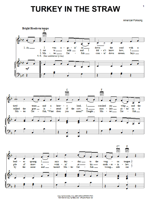 Traditional American Folksong Turkey In The Straw sheet music notes and chords. Download Printable PDF.