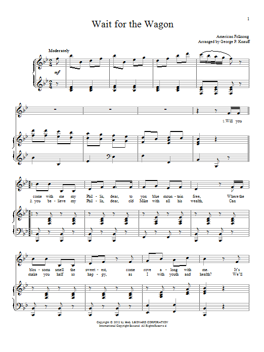 Traditional American Folksong Wait For The Wagon sheet music notes and chords. Download Printable PDF.