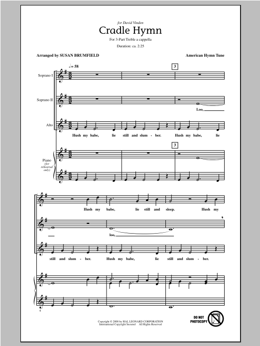 American Hymn Tune Cradle Hymn (arr. Susan Brumfield) sheet music notes and chords. Download Printable PDF.