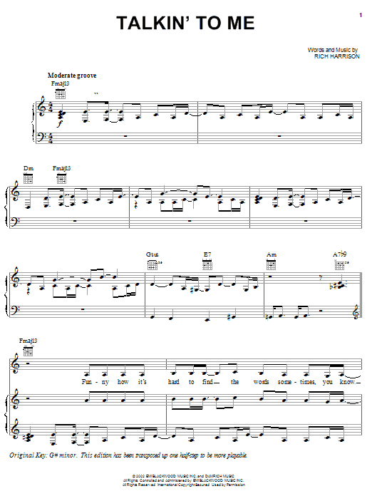 Amerie Talkin' To Me sheet music notes and chords. Download Printable PDF.