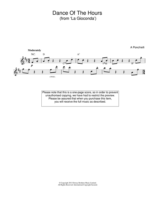 Amilcare Ponchielli Dance Of The Hours (from La Gioconda) sheet music notes and chords
