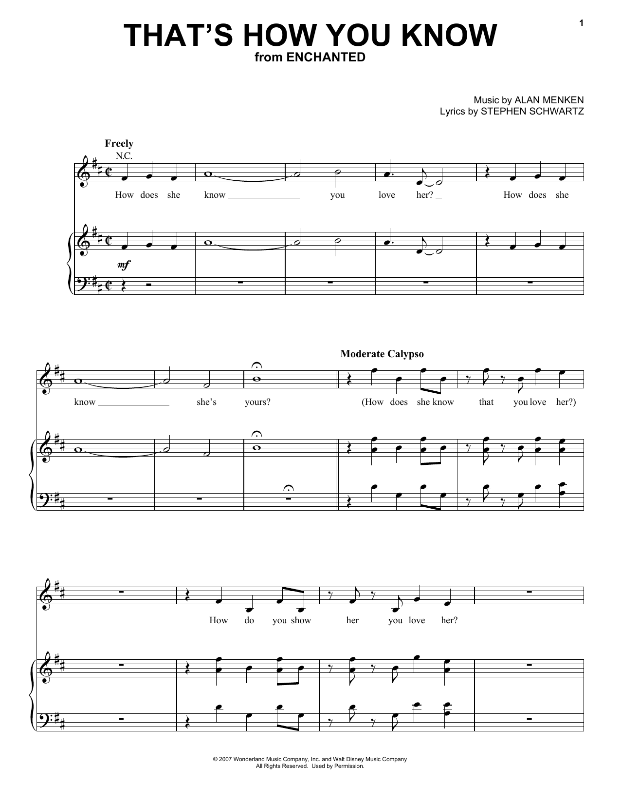Amy Adams That's How You Know (from Enchanted) sheet music notes and chords