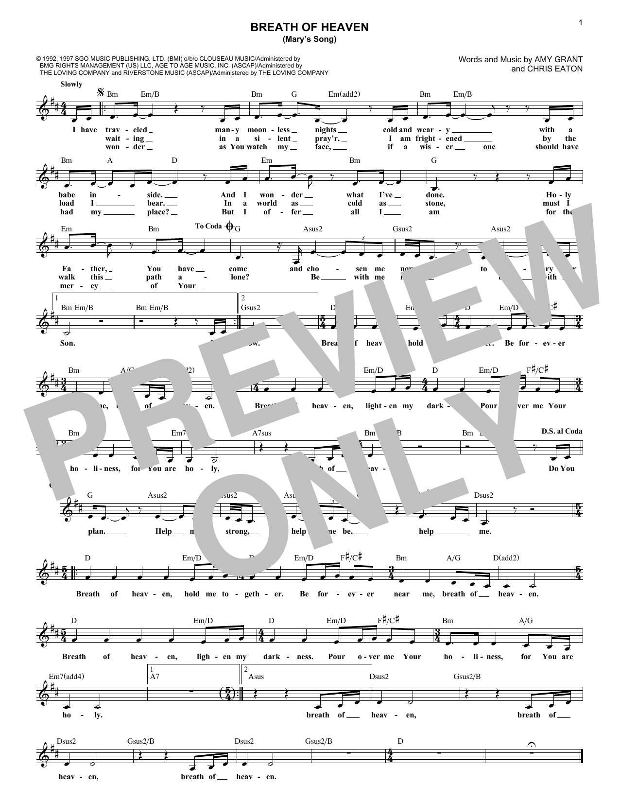 Amy Grant Breath Of Heaven (Mary's Song) sheet music notes and chords. Download Printable PDF.