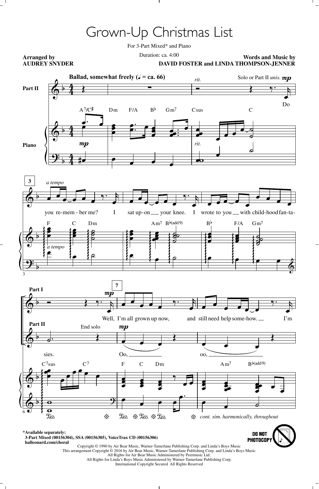 Amy Grant Grown-Up Christmas List (arr. Audrey Snyder) sheet music notes and chords. Download Printable PDF.