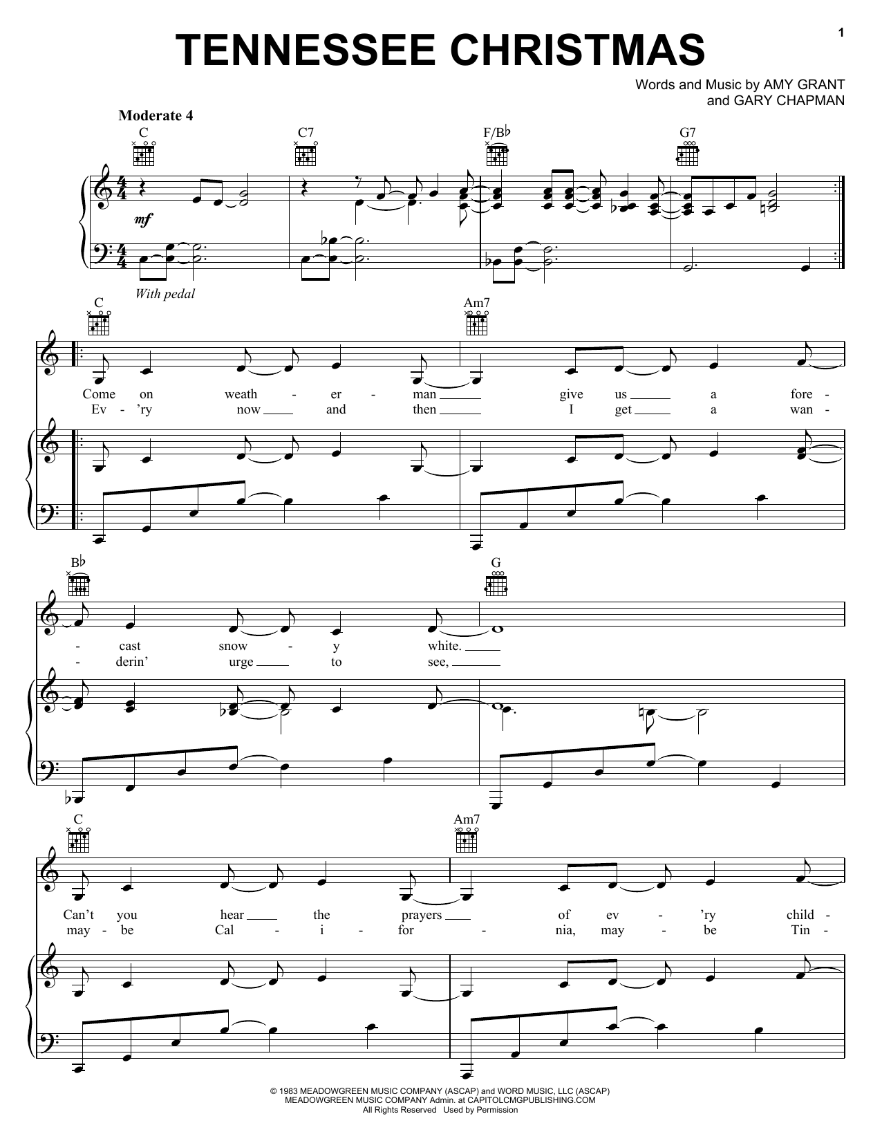 Amy Grant Tennessee Christmas sheet music notes and chords. Download Printable PDF.