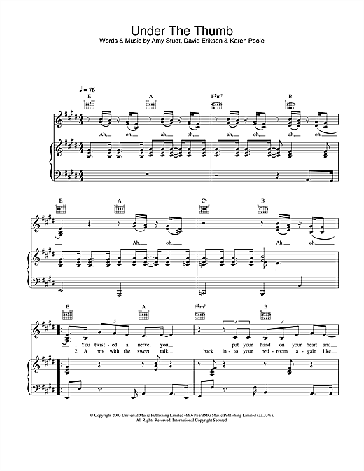 Amy Studt Under The Thumb sheet music notes and chords. Download Printable PDF.