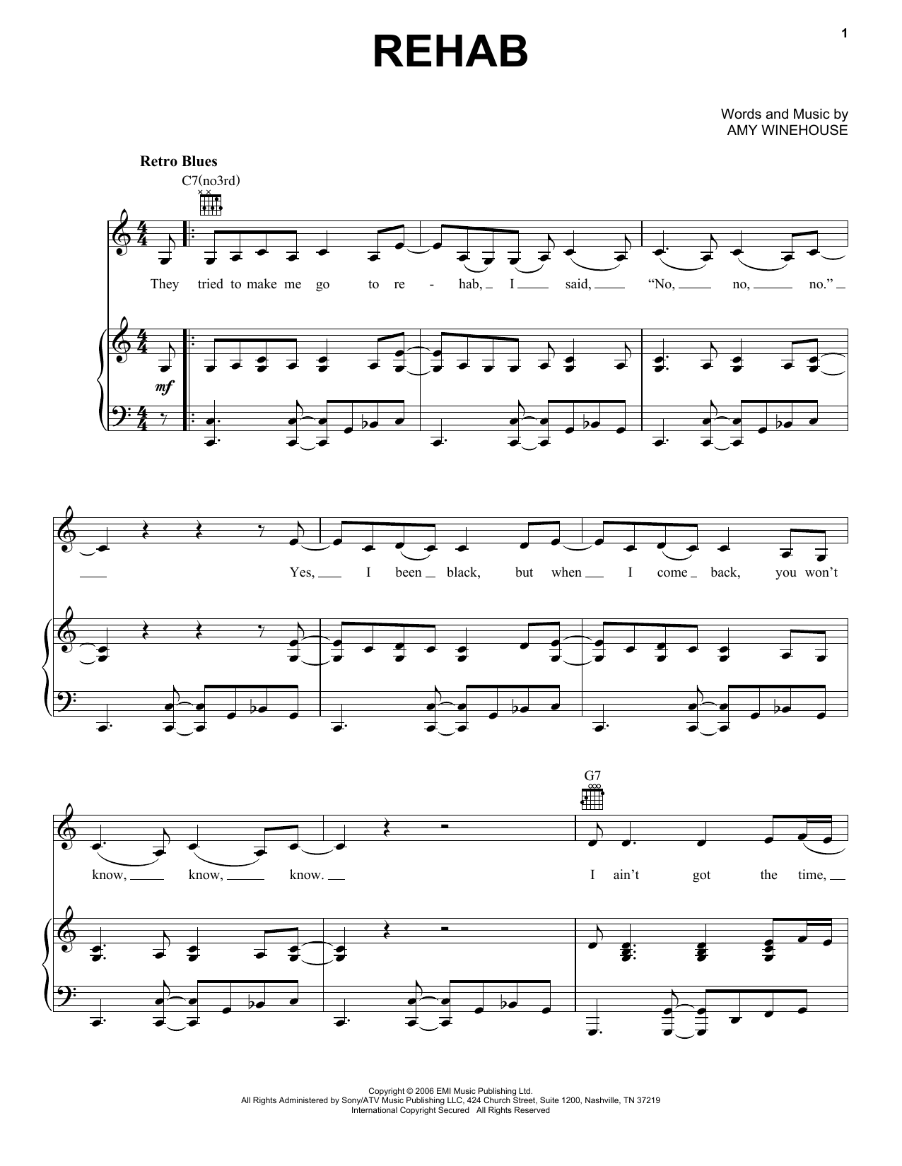 Amy Winehouse Rehab sheet music notes and chords. Download Printable PDF.