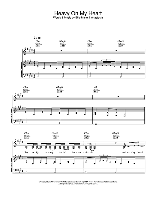Anastacia Heavy On My Heart sheet music notes and chords. Download Printable PDF.