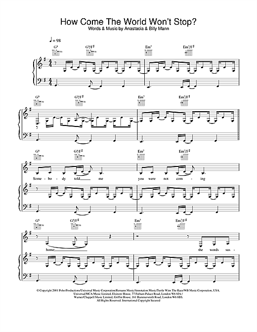 Anastacia How Come The World Won't Stop? sheet music notes and chords