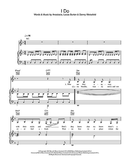 Anastacia I Do sheet music notes and chords. Download Printable PDF.
