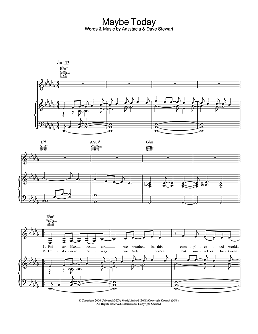 Anastacia Maybe Today sheet music notes and chords. Download Printable PDF.