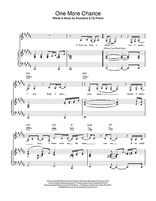 Anastacia One More Chance sheet music notes and chords