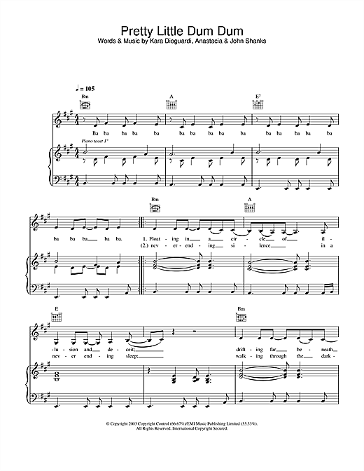 Anastacia Pretty Little Dum Dum sheet music notes and chords