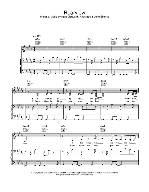 Anastacia Rearview sheet music notes and chords