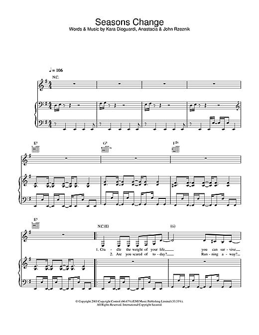 Anastacia Seasons Change sheet music notes and chords
