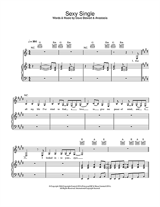 Anastacia Sexy Single sheet music notes and chords