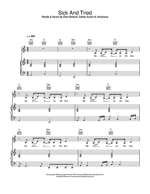 Anastacia Sick And Tired sheet music notes and chords