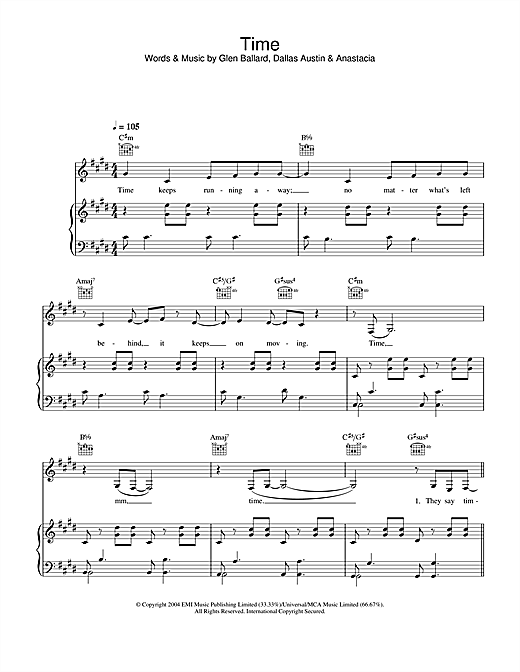 Anastacia Time sheet music notes and chords