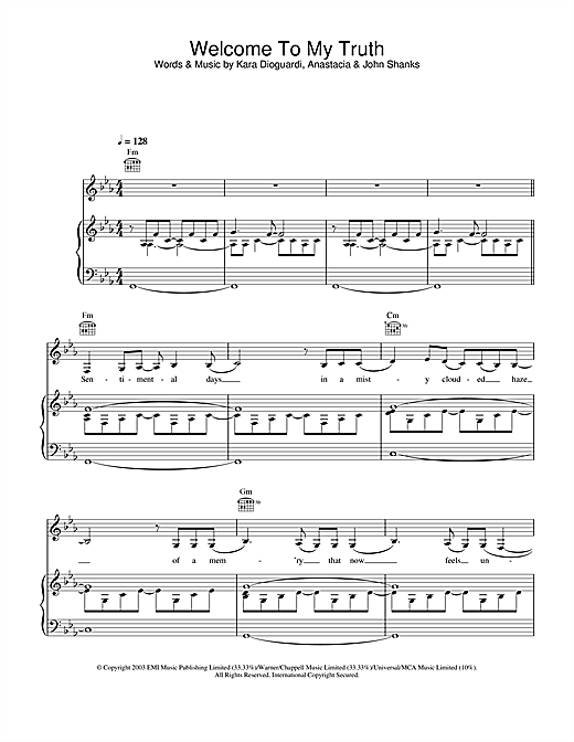 Anastacia Welcome To My Truth sheet music notes and chords. Download Printable PDF.