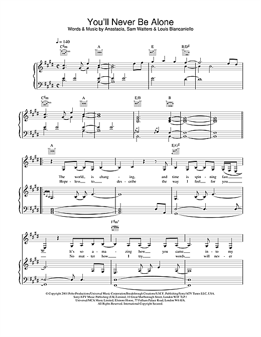 Anastacia You'll Never Be Alone sheet music notes and chords