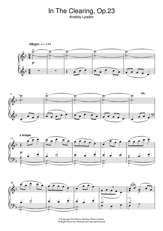 Anatoly Lyadov In The Clearing Op. 23 sheet music notes and chords