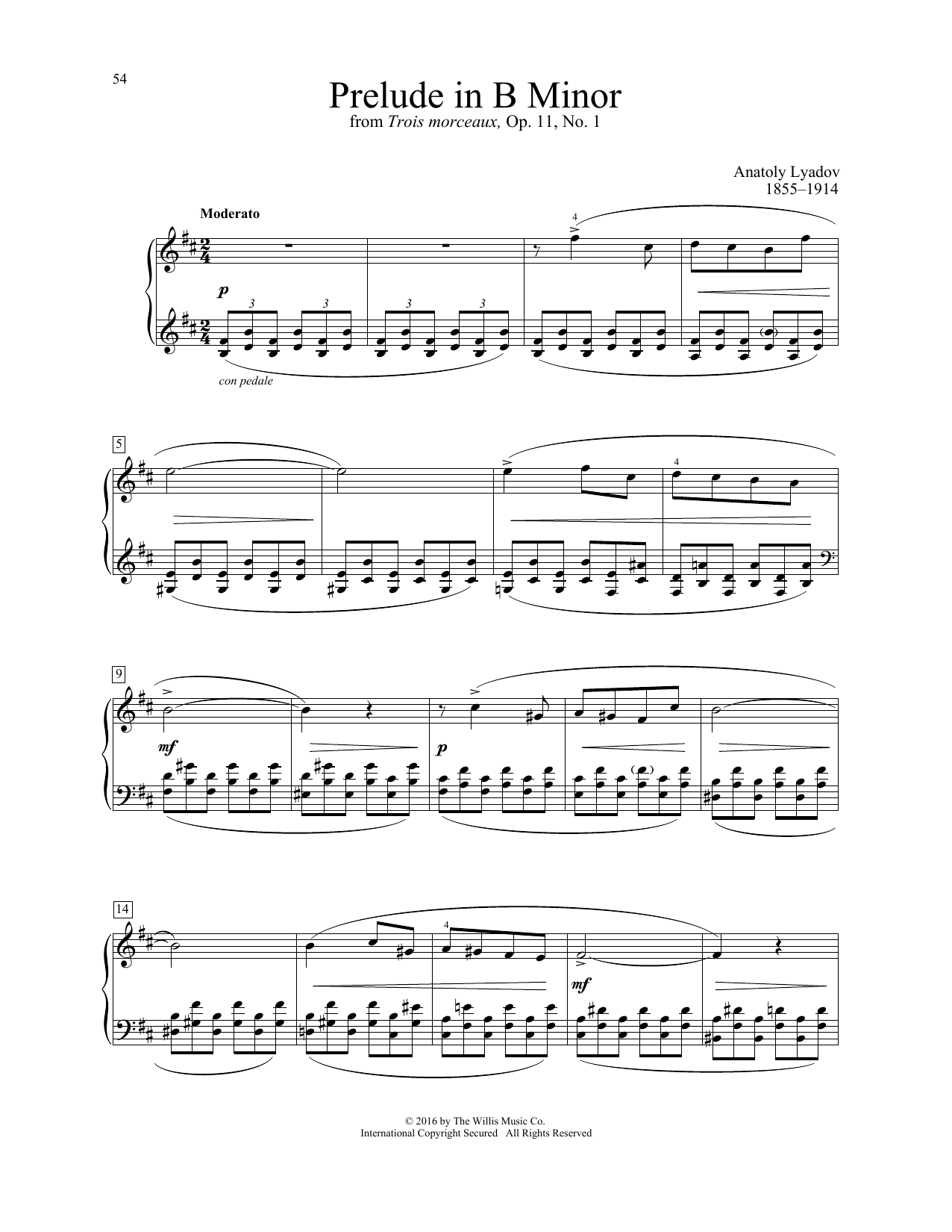 Anatoly Lyadov Prelude In B Minor sheet music notes and chords