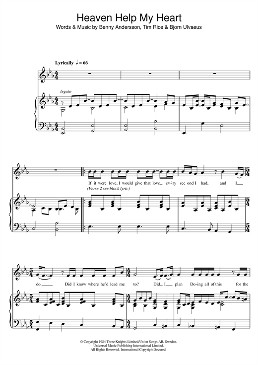 ANDERSSON And ULVAEUS Heaven Help My Heart (from Chess) sheet music notes and chords. Download Printable PDF.