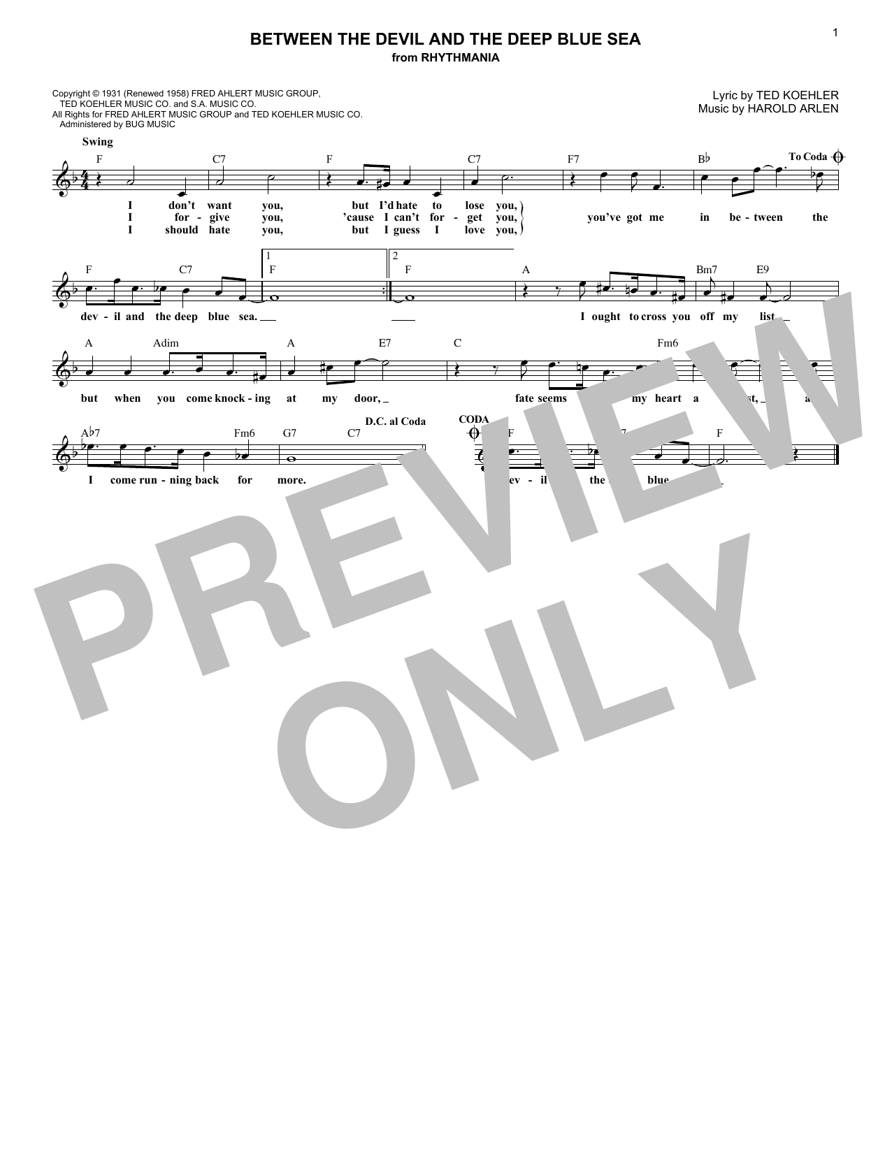 Andre Previn Between The Devil And The Deep Blue Sea sheet music notes and chords. Download Printable PDF.
