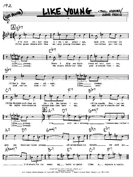 Andre Previn Like Young sheet music notes and chords. Download Printable PDF.