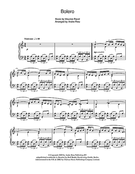 Andre Rieu Bolero sheet music notes and chords