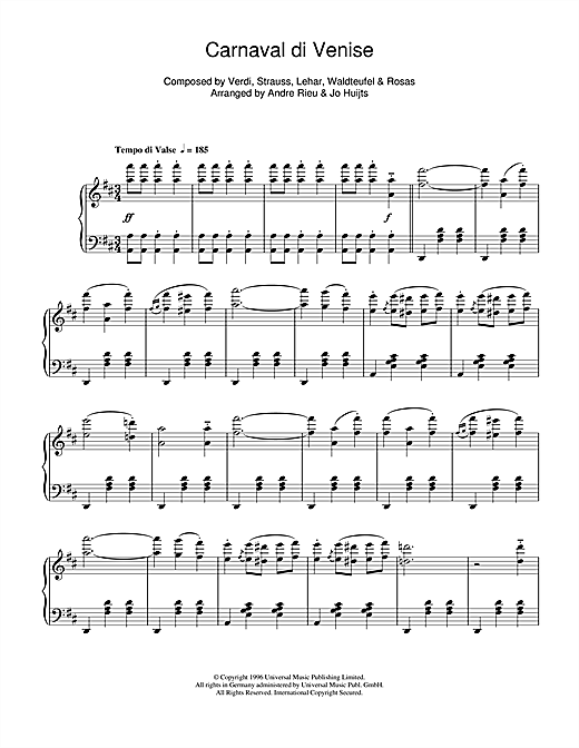 Andre Rieu Carnaval de Venise sheet music notes and chords. Download Printable PDF.