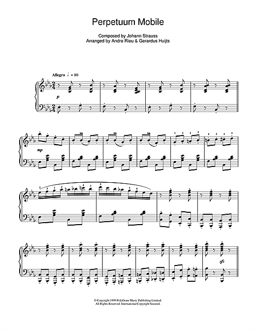 Andre Rieu Perpetuum Mobile sheet music notes and chords