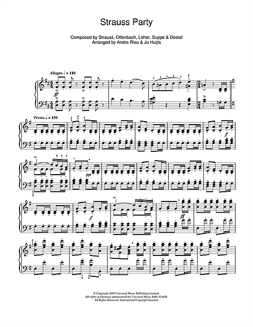 Andre Rieu Strauss Party sheet music notes and chords. Download Printable PDF.