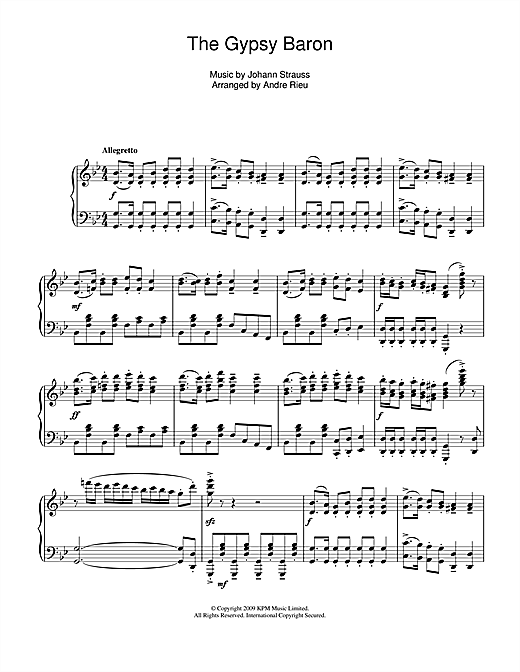 Andre Rieu The Gypsy Baron sheet music notes and chords. Download Printable PDF.