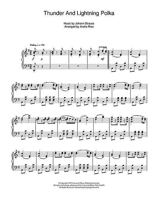 Andre Rieu Thunder And Lightning Polka sheet music notes and chords