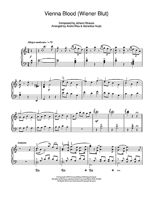 Andre Rieu Vienna Blood sheet music notes and chords. Download Printable PDF.