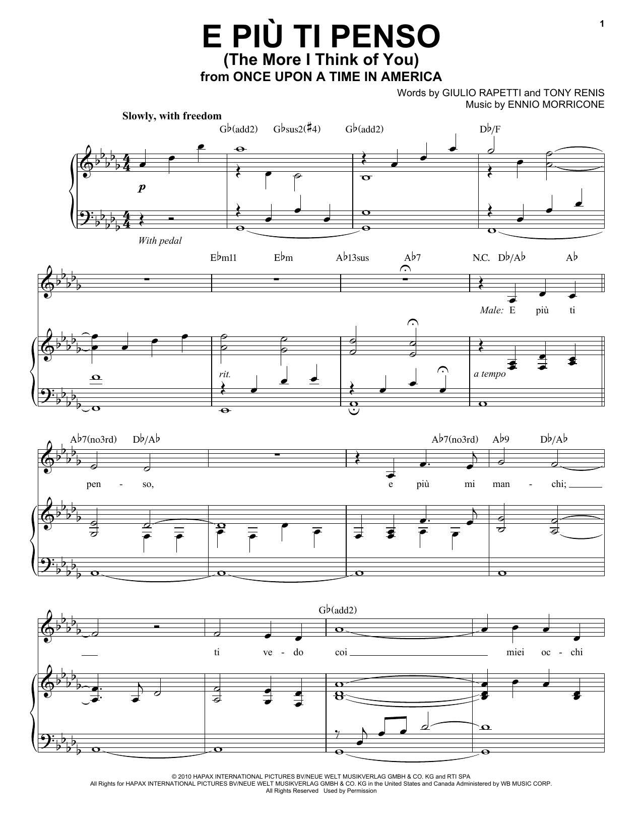 Andrea Bocelli E Piu'ti Penso (The More I Think Of You) sheet music notes and chords. Download Printable PDF.