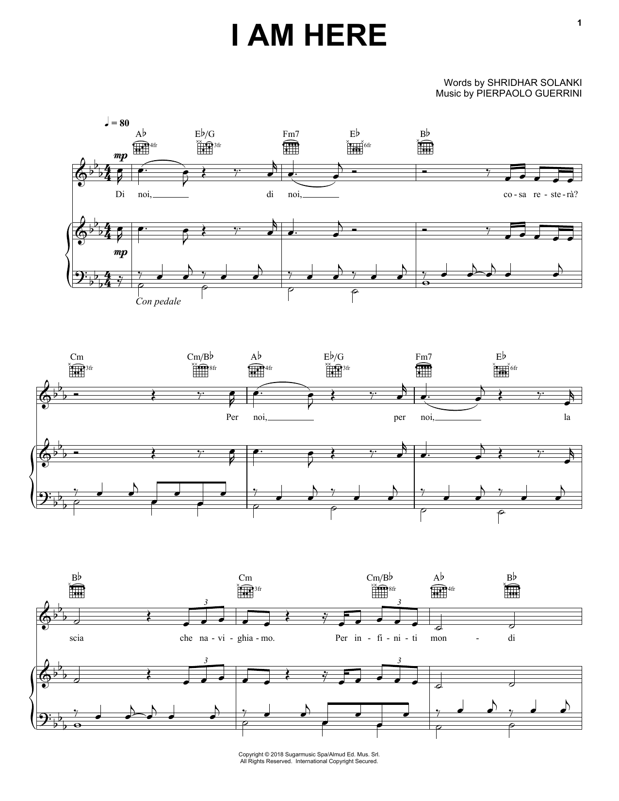 Andrea Bocelli I Am Here sheet music notes and chords