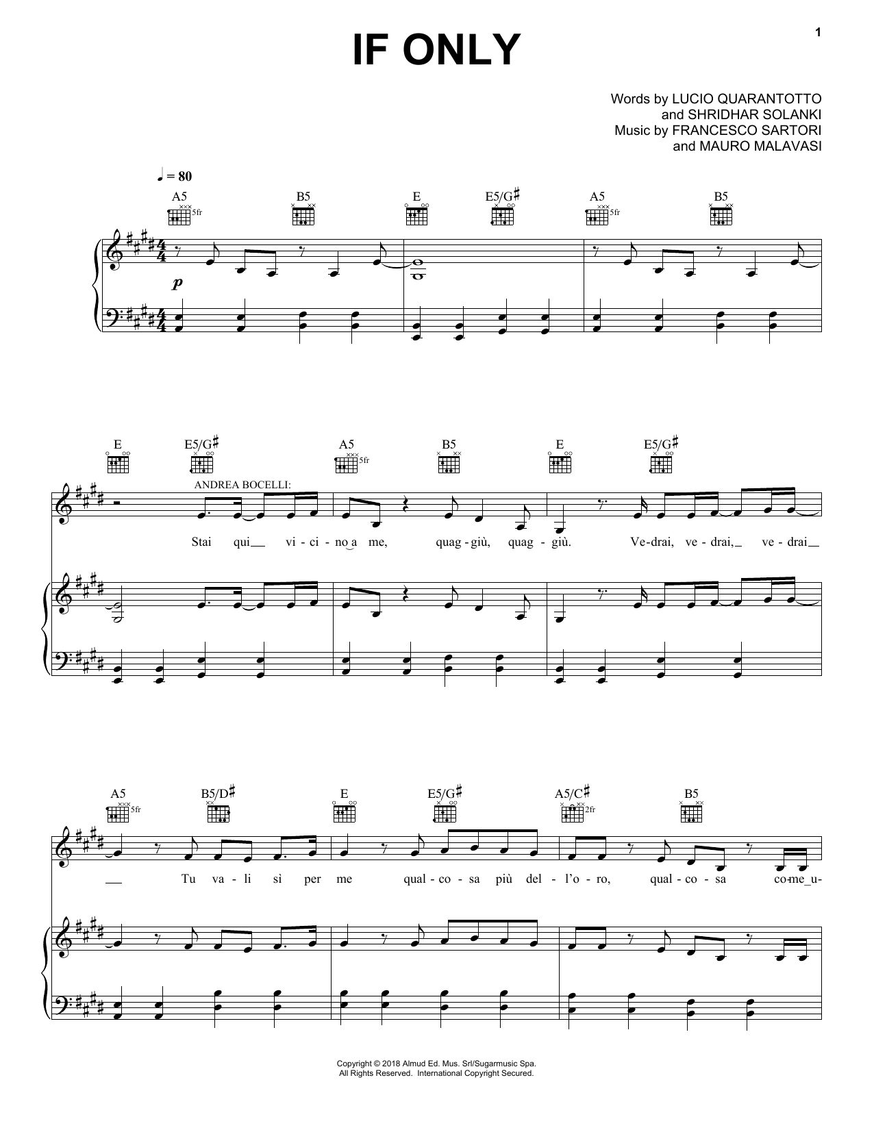 Andrea Bocelli If Only (feat. Dua Lipa) sheet music notes and chords