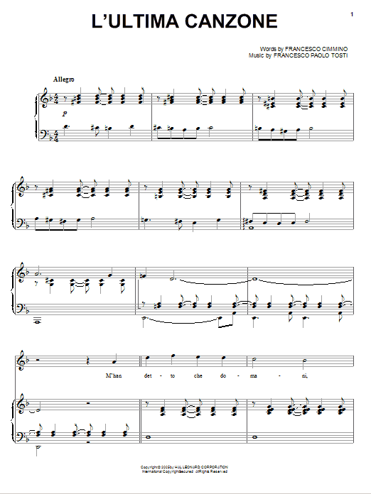 Andrea Bocelli L'ultima canzone sheet music notes and chords. Download Printable PDF.
