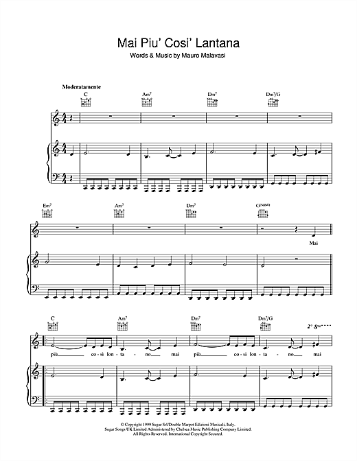 Andrea Bocelli Mai Piu' Cosi' Lontano sheet music notes and chords. Download Printable PDF.