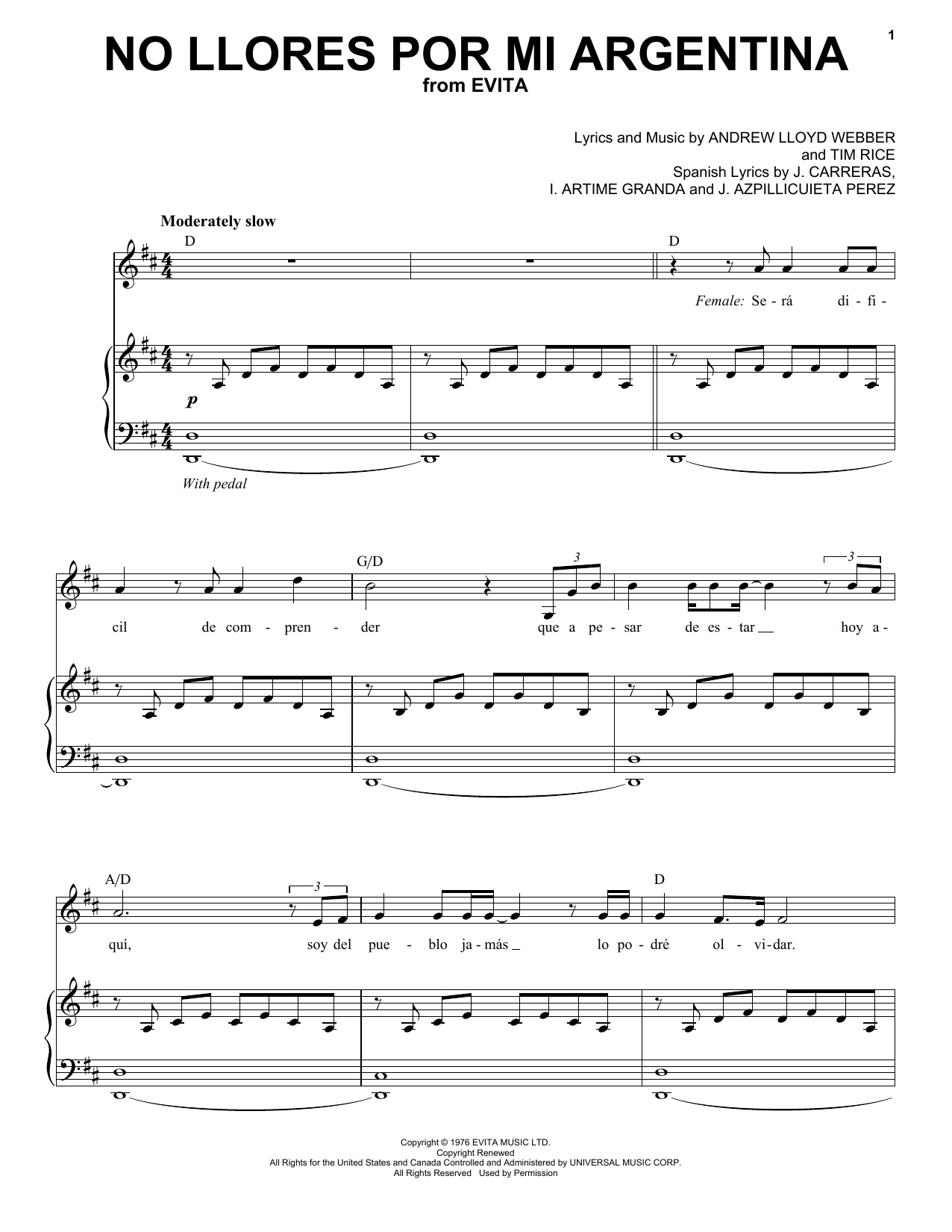 Andrea Bocelli No Llores Por Mi Argentia sheet music notes and chords. Download Printable PDF.