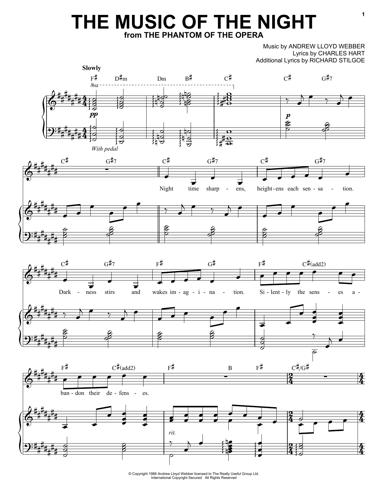 Andrea Bocelli The Music Of The Night (from The Phantom Of The Opera) sheet music notes and chords. Download Printable PDF.
