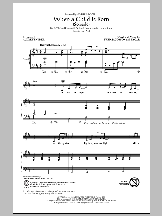 Andrea Bocelli When A Child Is Born (Soleado) (arr. Audrey Snyder) sheet music notes and chords