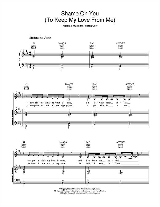 Andrea Corr Shame On You (To Keep My Love From Me) sheet music notes and chords. Download Printable PDF.