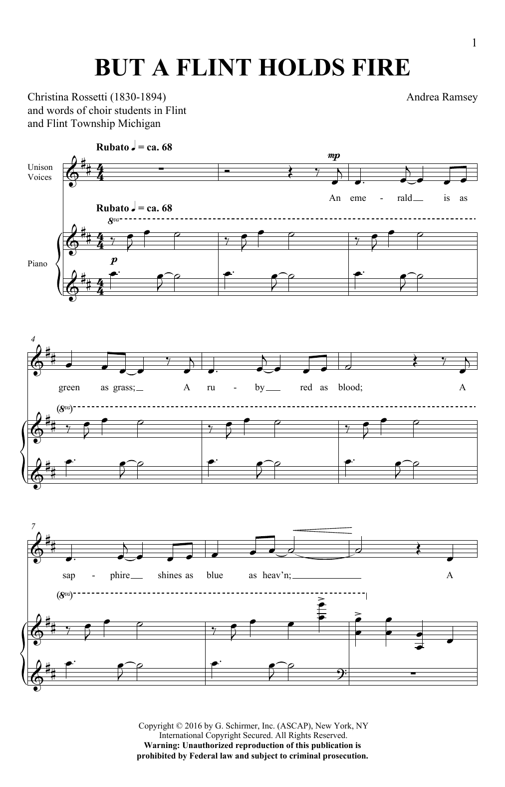 Andrea Ramsey But A Flint Holds Fire sheet music notes and chords. Download Printable PDF.
