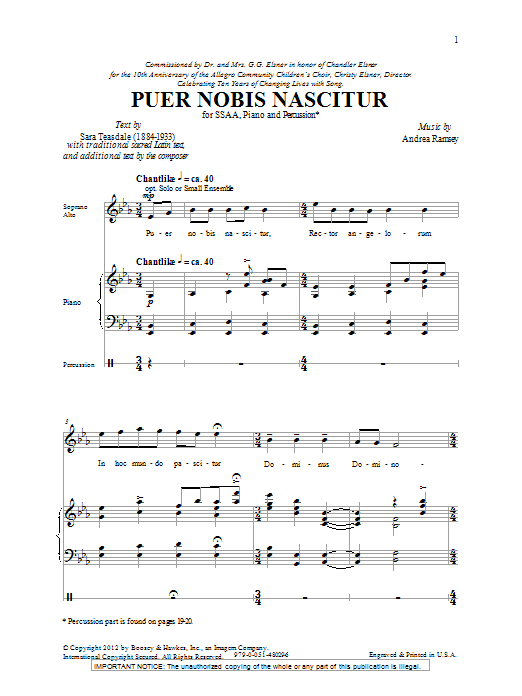 Andrea Ramsey Puer Nobis Nascitur sheet music notes and chords. Download Printable PDF.
